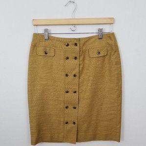 Anne Klein Double Button Linen Blend Skirt